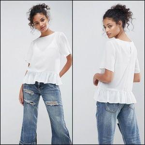 ASOS DESIGN 2 Woven T-Shirt with Ruffle Hem